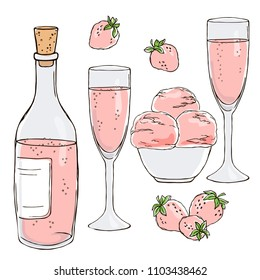 vector contour color rose champagne wine bottle glasses strawberry berry ice cream set on white