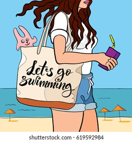 Vector contour drawing with coloring of a long-haired girl walking near the sea with a beach bag and motivation phrase 'lets go swimming'. it can be used for posters, postcards or t-shirts