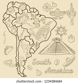 vector contour drawing coloring on the theme of South America, the continent depicts plants, animals, people living in South America, elements for design, without background