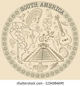 vector contour drawing coloring on South America, animals, people, buildings, plants, holidays, continent map, circular ornament without background