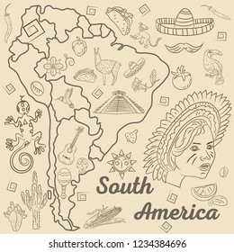 vector contour drawing coloring on South America, animals, people, buildings, plants, holidays, continent map without background