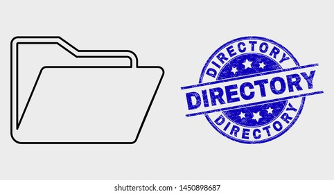 Vector contour folder pictogram and Directory stamp. Blue rounded textured stamp with Directory title. Black isolated folder pictogram in line style.
