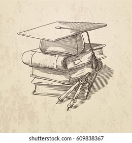 Vector contour illustration with a square academic cap, a pile of books and a divider tool. Engraving style, in sepia.