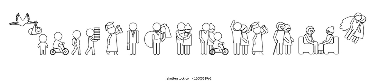 A vector contour image of a series transformations a man from birth to the end of his life on a white background