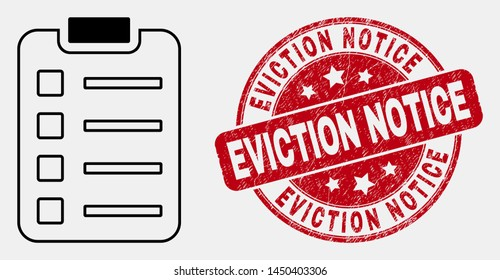 Vector contour items pad icon and Eviction Notice seal. Blue round distress seal with Eviction Notice title. Black isolated items pad icon in line style.