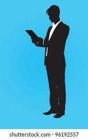 vector contour man with tablet pc - vector illustration