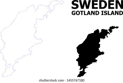 Vector contour Map of Gotland Island with caption. Map of Gotland Island is isolated on a white background. Simple flat dotted geographic map template.