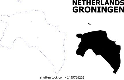 Vector contour Map of Groningen Province with caption. Map of Groningen Province is isolated on a white background. Simple flat dotted geographic map template.