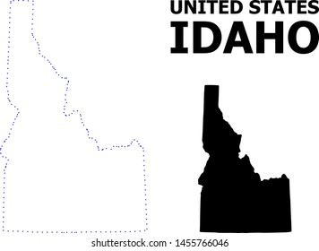 Vector contour Map of Idaho State with caption. Map of Idaho State is isolated on a white background. Simple flat dotted geographic map template.