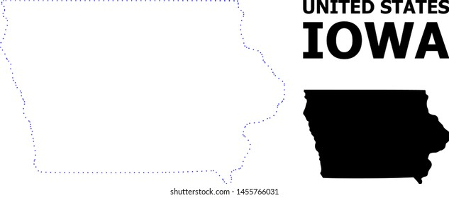 Vector contour Map of Iowa State with name. Map of Iowa State is isolated on a white background. Simple flat dotted geographic map template.