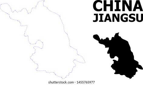 Vector contour Map of Jiangsu Province with title. Map of Jiangsu Province is isolated on a white background. Simple flat dotted geographic map template.