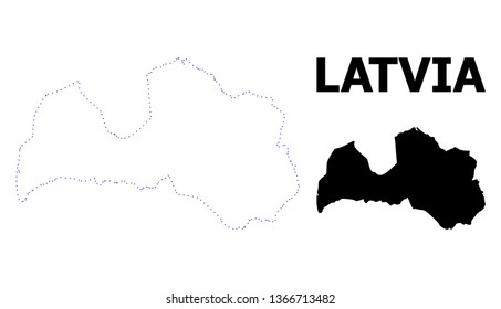 Vector contour Map of Latvia with name. Map of Latvia is isolated on a white background. Simple flat dotted geographic map template.