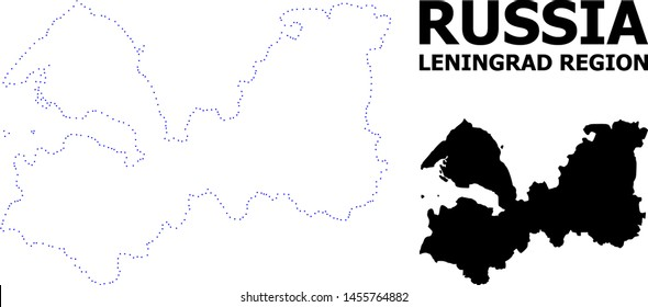 Vector contour Map of Leningrad Region with title. Map of Leningrad Region is isolated on a white background. Simple flat dotted geographic map template.