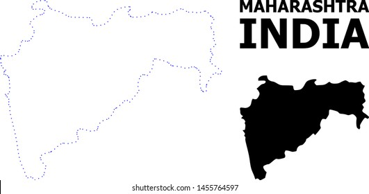 Vector contour Map of Maharashtra State with name. Map of Maharashtra State is isolated on a white background. Simple flat dotted geographic map template.