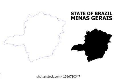 Vector contour Map of Minas Gerais State with title. Map of Minas Gerais State is isolated on a white background. Simple flat dotted geographic map template.