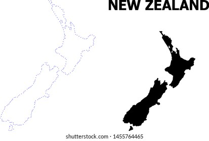 Vector contour Map of New Zealand with title. Map of New Zealand is isolated on a white background. Simple flat dotted geographic map template.