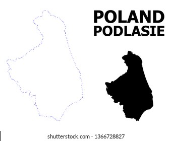 Vector contour Map of Podlasie Province with caption. Map of Podlasie Province is isolated on a white background. Simple flat dotted geographic map template.
