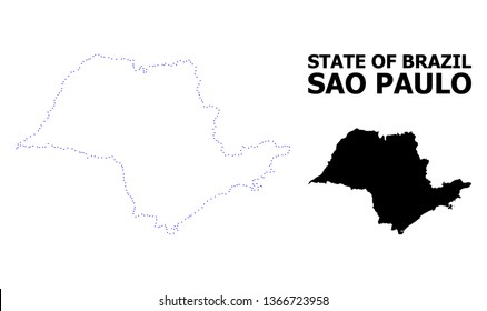 Vector contour Map of Sao Paulo State with title. Map of Sao Paulo State is isolated on a white background. Simple flat dotted geographic map template.