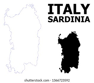 Vector contour Map of Sardinia region with title. Map of Sardinia region is isolated on a white background. Simple flat dotted geographic map template.
