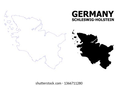 Vector contour Map of Schleswig-Holstein State with name. Map of Schleswig-Holstein State is isolated on a white background. Simple flat dotted geographic map template.