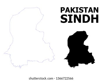 Vector contour Map of Sindh Province with caption. Map of Sindh Province is isolated on a white background. Simple flat dotted geographic map template.