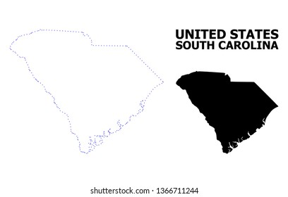 Vector contour Map of South Carolina State with name. Map of South Carolina State is isolated on a white background. Simple flat dotted geographic map template.