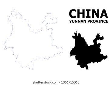 Vector contour Map of Yunnan Province with name. Map of Yunnan Province is isolated on a white background. Simple flat dotted geographic map template.