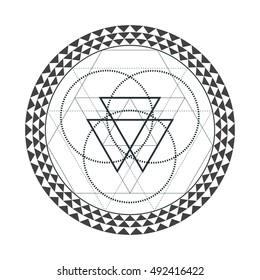 vector contour monochrome design mandala sacred geometry illustration triangles hexagons isolated white background