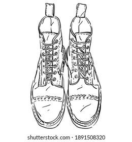 Vector contour, outline illustration with vintage antique retro shoes