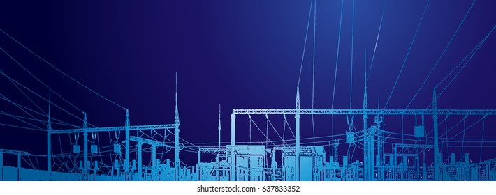 Vector contour silhouette. Substation, powerhouse. High-voltage line. Poles cable Background