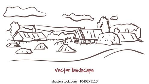 Vector contour sketch of rural landscape. Stock handwritten illustration for design.