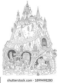 Vector contour thin line illustration. Fairy tale Dragon family apartment in the old cave in a dungeon under the medieval castle. Black and white sketch. Adults coloring book page, tee shirt print