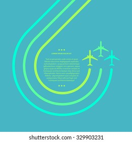 Vector contrast bright business avia card with two swirled airplanes, minimalistic style, whirlwind of airplane, for travel agencies, aviation companies