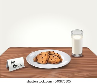 Vector Cookies and Milk for Santa Claus on Table