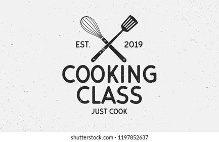 Vector Cooking Class logo. Vintage emblem. Retro label for culinary school,  food studio, cooking courses. Logo template.