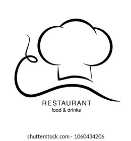Vector cooking hat with a mustache going to spaghetti. Black symbol for restaurant menu.