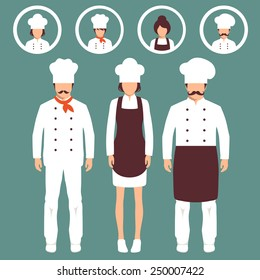 vector cooking illustration, cartoon cook icons, restaurant chef hats