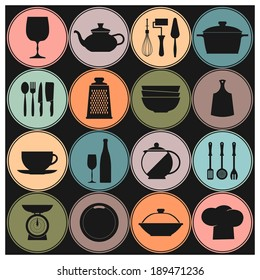 Vector Cooking and kitchen dishes icons