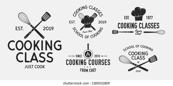 Vector Cooking logo set. 5 Vintage cooking emblems. Cook and Food labels, emblems, logo. Culinary school, food studio, cooking courses. Logo template.