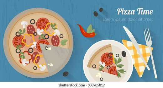 Vector cooking time illustration with flat icons. Fresh food and materials on kitchen table in flat style. Top view of healthy eating