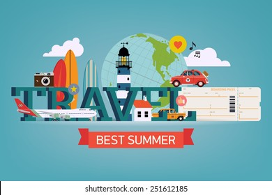 Vector cool detailed flat horizontal web banner or site page header image template on best summer travel, touristic destinations, water activities with surf boards, lighthouse, air plane boarding pass