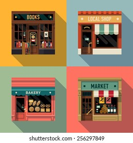 Vector cool flat design square architecture detailed icons on retro style local shop store facade with awning, book store, small bakery and grocery market | Small business icons with store facades