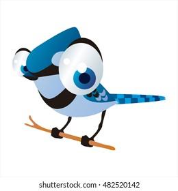 vector cool image of cartoon bright color animal. Funny cute birds. Blue Jay