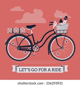 Vector cool three colored detailed web banner on 'Let's Go For A Ride' with vintage bicycle with wicker basket full of food like wine bottle, bread and apple and folded blanket on rear rack