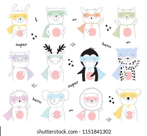 Vector coolection of line drawing superhero animals. Doodle illustration. Friendship day, Valentine's, anniversary, birthday, children's or teenager party