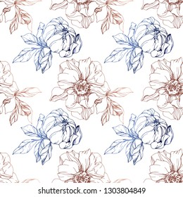 Vector Copper and blue peony floral botanical flower. Wild spring leaf wildflower isolated. Engraved ink art. Seamless background pattern. Fabric wallpaper print texture.