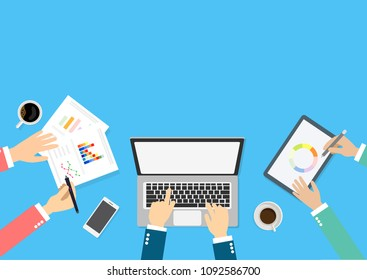 Vector with copy space of young businessman working with team on creative idea project for analyzing company financial strategy. Concept picture for office and business teamwork project.
