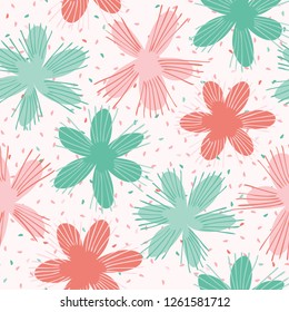 Vector Coral Flowers SprinkleSeamless Repeat Pattern. Floral Confetti Circles 1950s Style Background. Modern Trendy Summer Fashion Print, Fabric Textile, Pretty Girls Stationery, Retro Paper Packaging