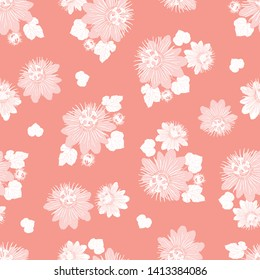 Vector coral pink seamless pattern with leaves and wild flower. Suitable for textile, gift wrap and wallpaper.