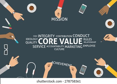 vector core value concept, template
